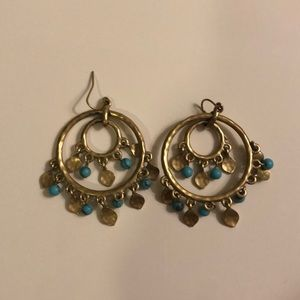 Gold and Turquoise Round Earrings